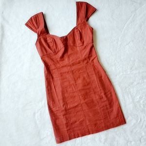 URBAN OUTFITTERS Linen burnt orange dress